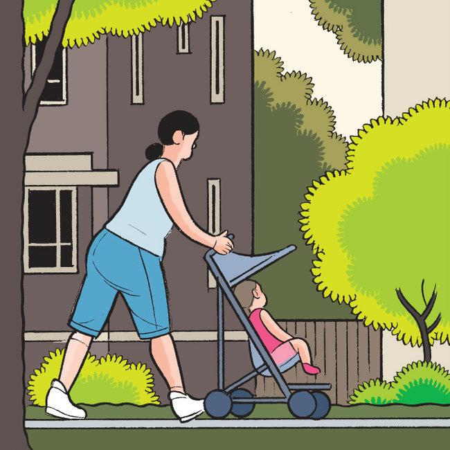 推着婴儿车的女主角